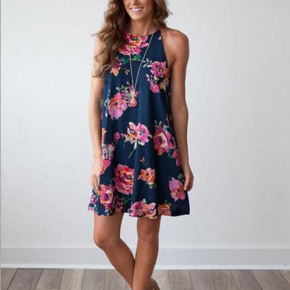 Halter Floral Print Short Shift Dre..