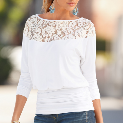 Women'S Long Sleeves Round Neck Lac..