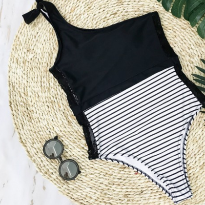 2018 Sexy Stripe Lace One Piece Swi..