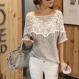Weet Lace Hollow Bat Sleeve T Shirt..