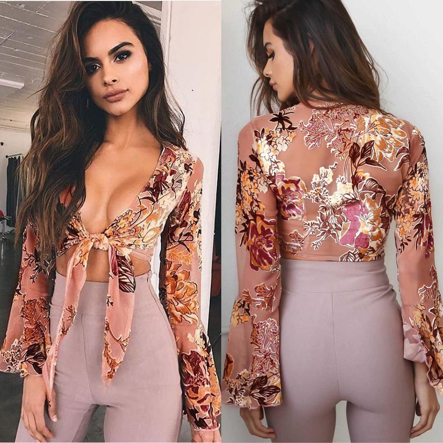 fdca62131e Tiffany Floral Bell Sleeve Top - Fashion Women Ladies Summer Long Sleeve  Shirt Loose Casual Blouse