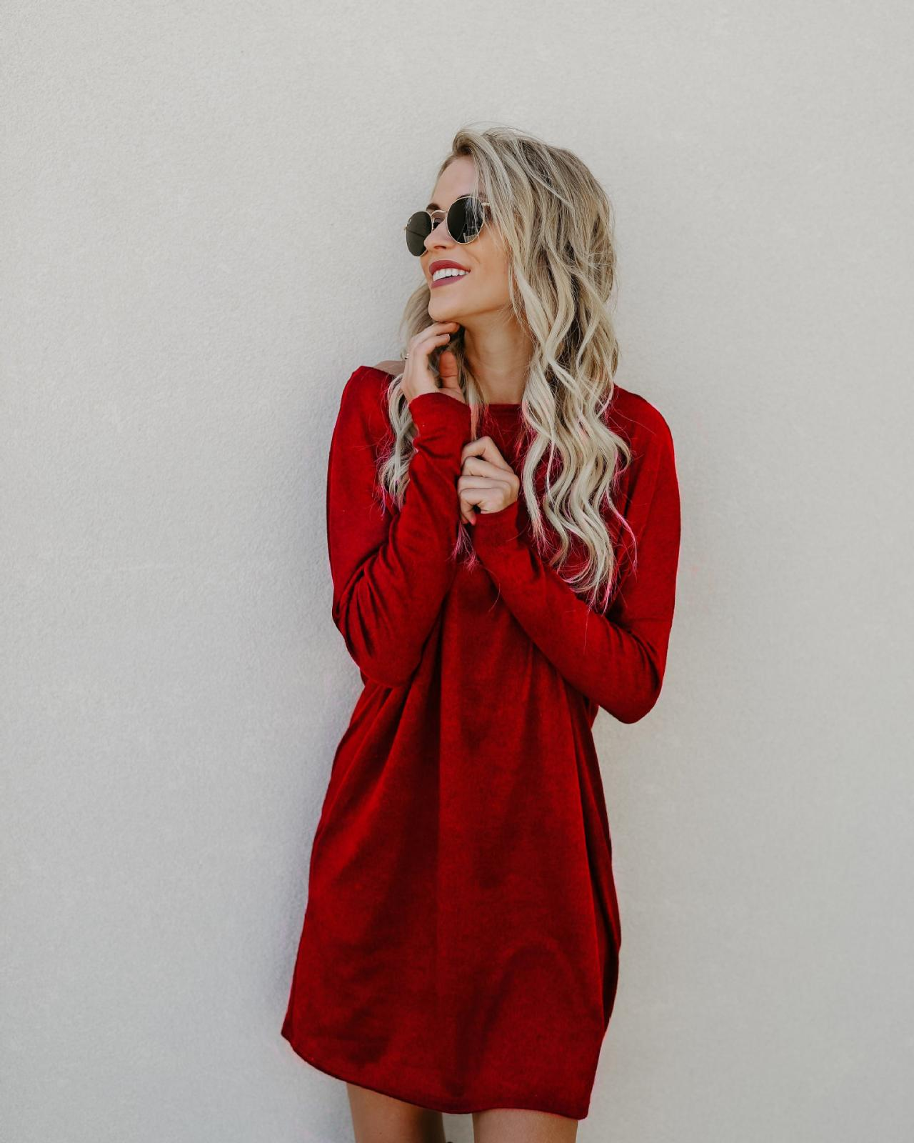 Round Neck Casual Long Sleeved Short Shift Dress with Pockets