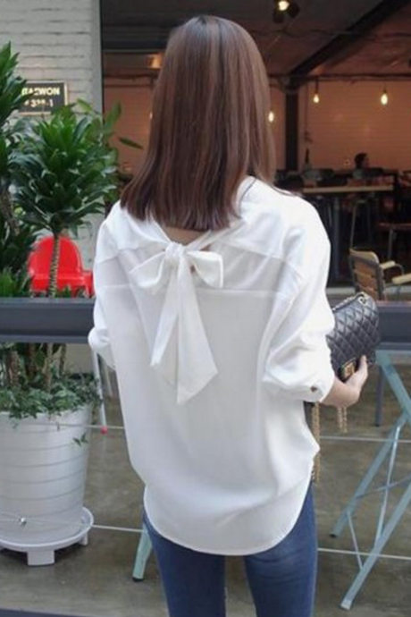 Loose V-Neck Long Sleeves Bowknot Shirt