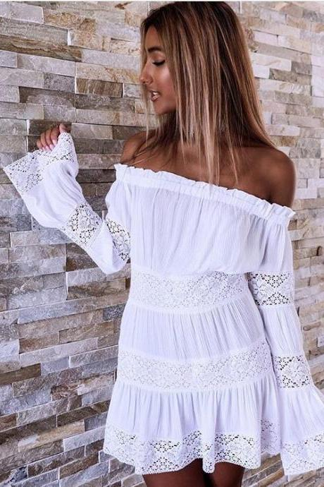 Women'S Lace Long-Sleeved Dress