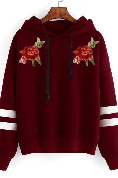 Floral Embroidered Long Sleeve Hoodie with Stripes