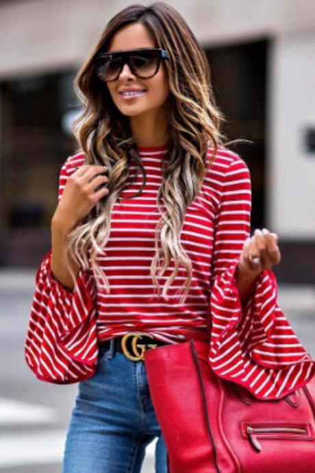Loose Long-Sleeved Round Neck Striped Shirt