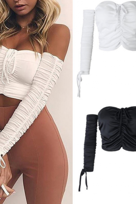 Ruched Off-The-Shoulder Sweetheart Long Sleeves Crop Top