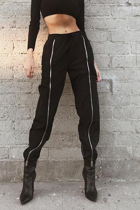 Black High-Waist Elasticised Casual Joggers Pants with Front Zipper Detailing
