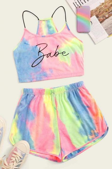 Tie Dye Letter Cami Top & Track Shorts Set
