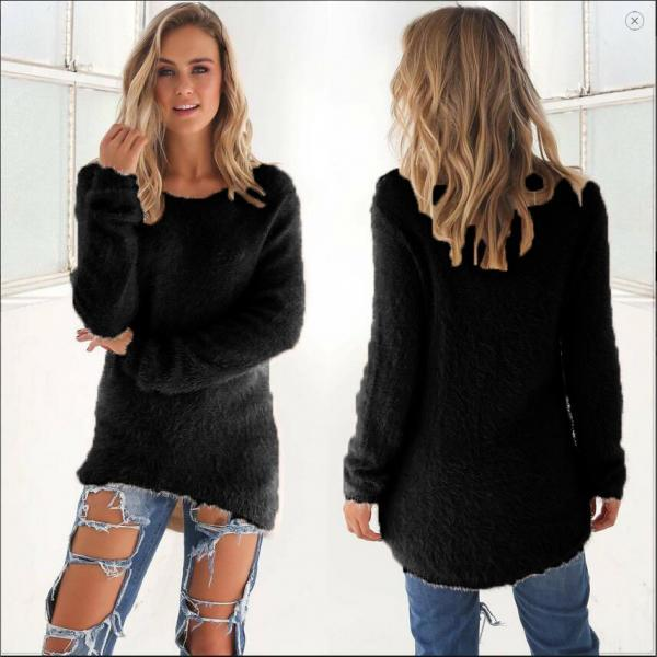 Pure Color Fashion Long-Sleeved Sweater