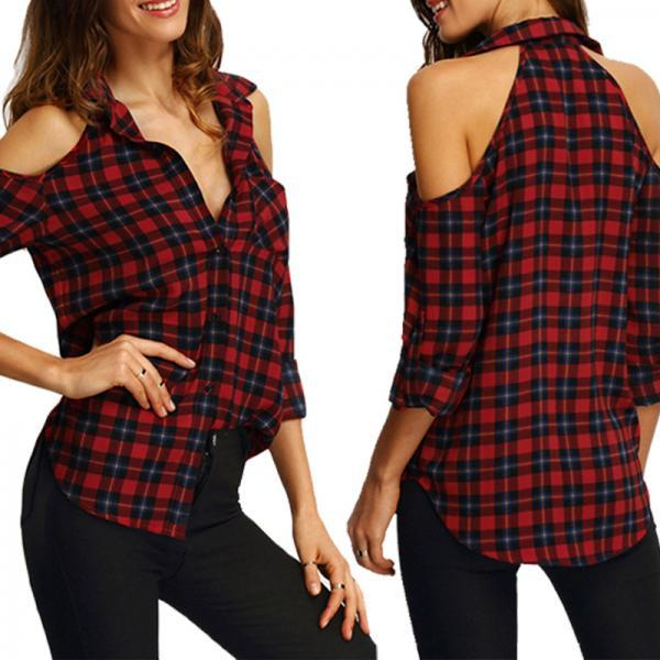 Long Sleeves Plaid Printed Strapless Shirt