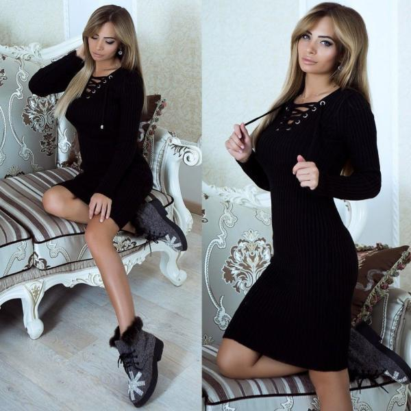 Fashion V-Neck Long-Sleeved Package Hip Dress