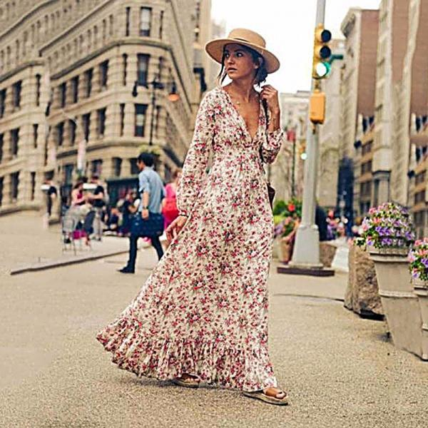 Long-Sleeved Floral Print Falbala V-Neck Dress