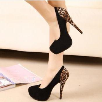 HIGH-HEELED SHOES LEOPARD SPLICING #092305KM