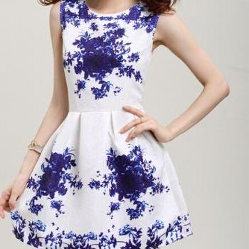 Printed sleeveless vest dress #093020AD